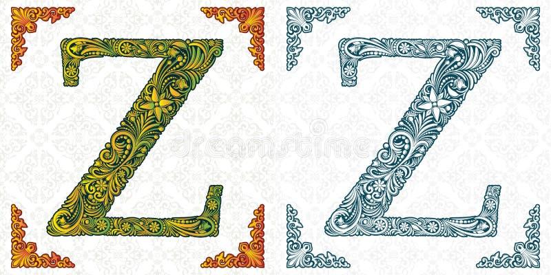 Wektor listowy Z Elegancka wzorzysta chrzcielnica monogram Abecadło od liścia ornamentu ABC royalty ilustracja