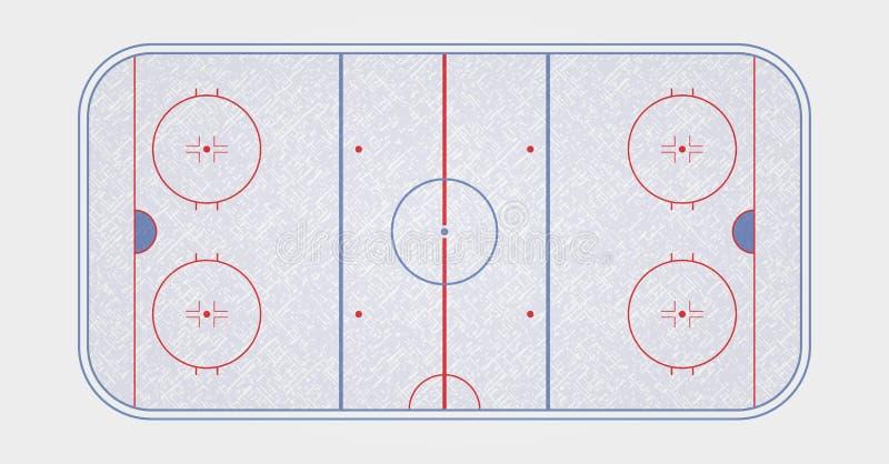 Wektor lodowego hokeja lodowisko Tekstury błękita lód Lodowy lodowisko Odgórny widok royalty ilustracja