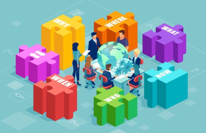 Wektor ludzie biznesu brainstorming nową strategię ilustracja wektor