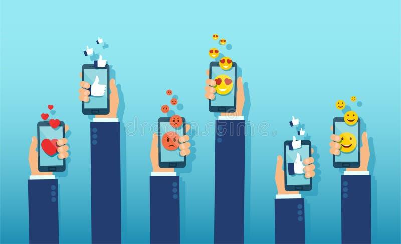 Wektor ludzie ręk z smartphones wyraża ich opinię używać app ikony royalty ilustracja