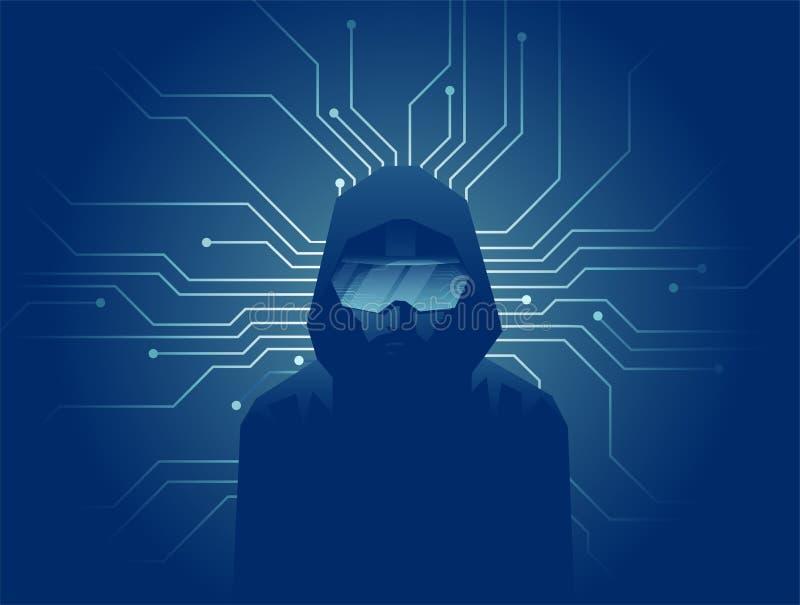 Wektor mężczyzna w VR słuchawki szkłach na ciemnym tle z liniami internet sieci związki ilustracja wektor