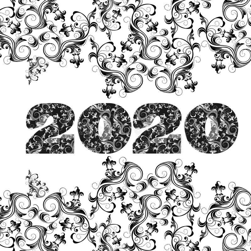 Wektor 2020 M i szczęśliwego nowy rok royalty ilustracja