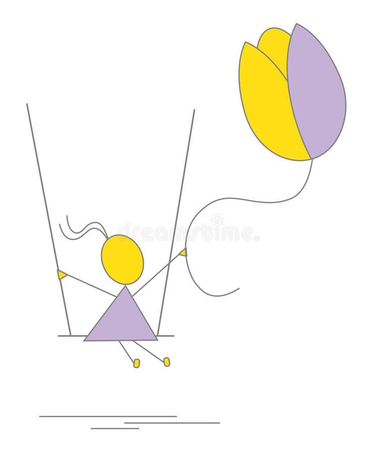 Wektor - mała dziewczynka z kwiatem na huśtawce ilustracji