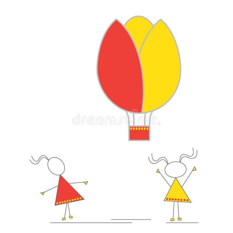 Wektor - małe dziewczynki i gorące powietrze balon ilustracji