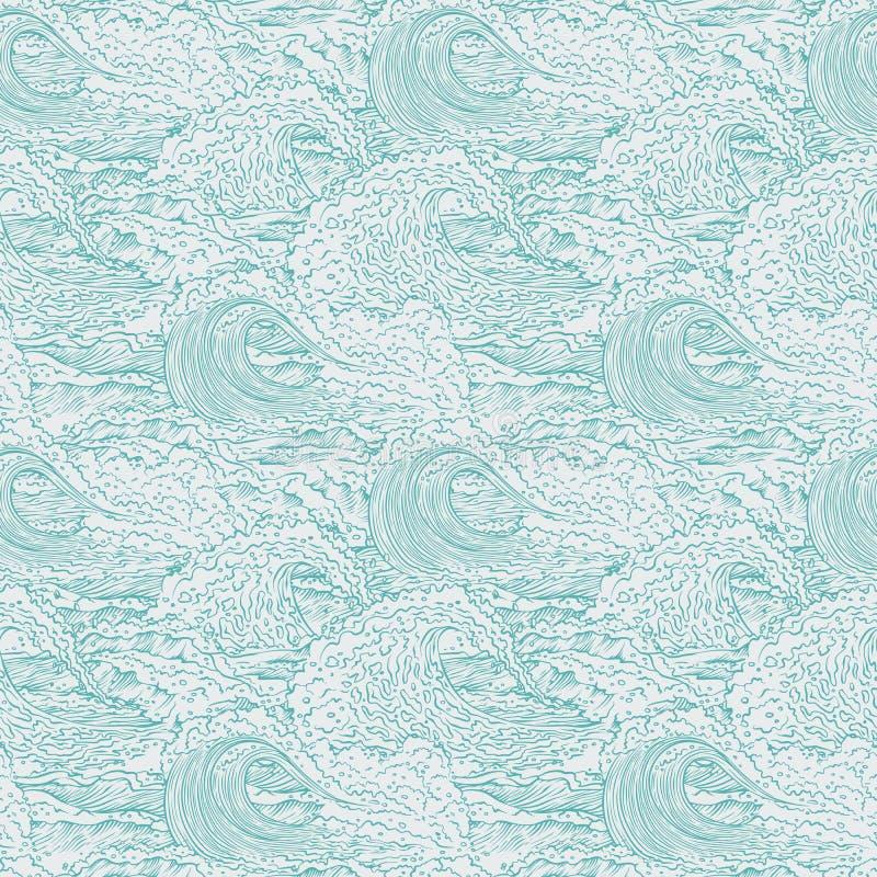 Wektor macha dennego oceanu tła bezszwowego wzór Duzi i mali wybuchy bryzgają z pianą i bąblami Konturu nakreślenie ilustracja wektor