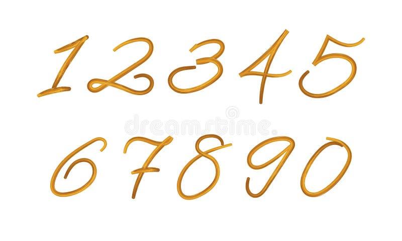 Wektor Malować liczby Ustawiać, farby tekstura, muśnięć uderzenia Odizolowywający, Złota kolor ilustracja ilustracji