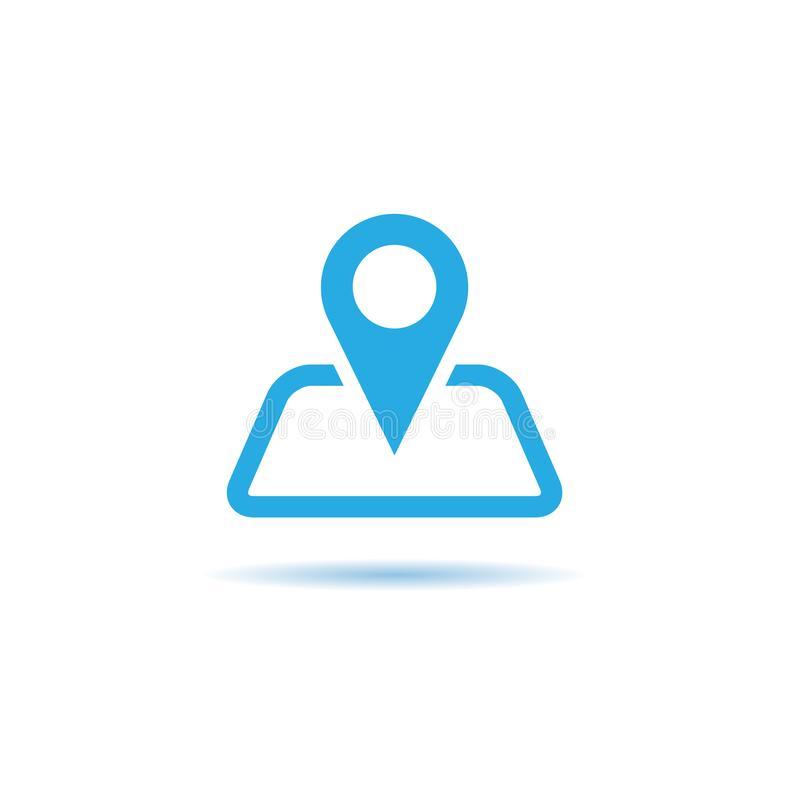 Wektor mapa pointeru ikona GPS lokaci symbol Płaski projekta sty ilustracji