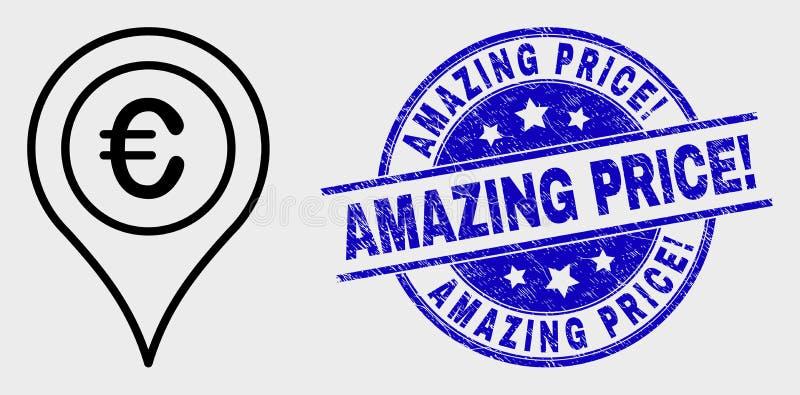 Wektor mapy markiera Kreskowa Euro ikona i Grunge Zadziwiająca cena! Stemplowa foka ilustracja wektor