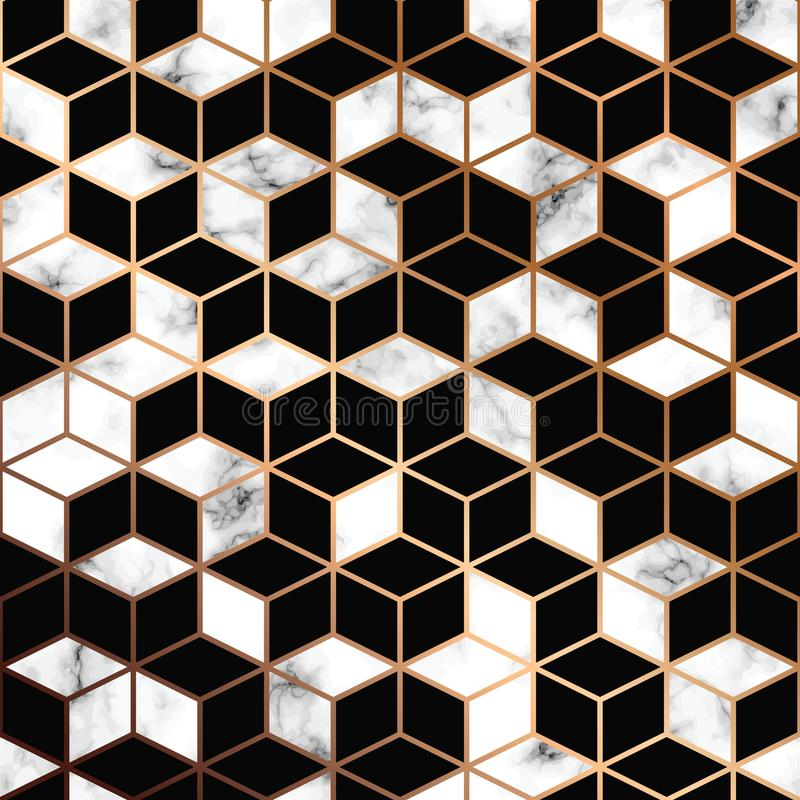 Wektor marmurowa tekstura, bezszwowy deseniowy projekt z złotymi geometrycznymi liniami i sześciany, czarny i biały marmoryzaci p royalty ilustracja