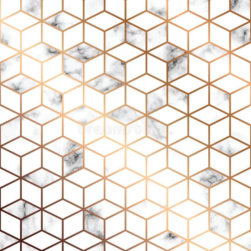 Wektor marmurowa tekstura, bezszwowy deseniowy projekt z złotymi geometrycznymi liniami i sześciany, czarny i biały marmoryzaci p ilustracja wektor