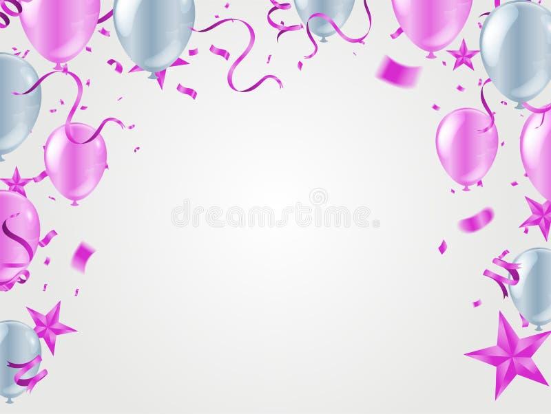 Wektor menchii przyjęcie szybko się zwiększać ilustrację Confetti i faborki zaznaczają faborki, świętowania tła szablon ilustracja wektor