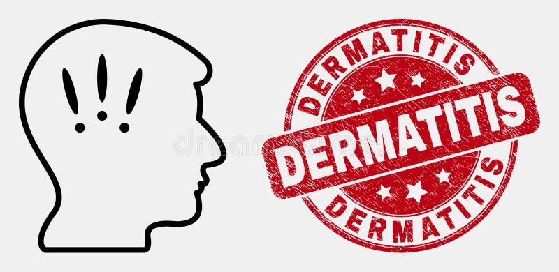 Wektor migreny Konturowa ikona i Porysowany Dermatitis znaczek ilustracja wektor
