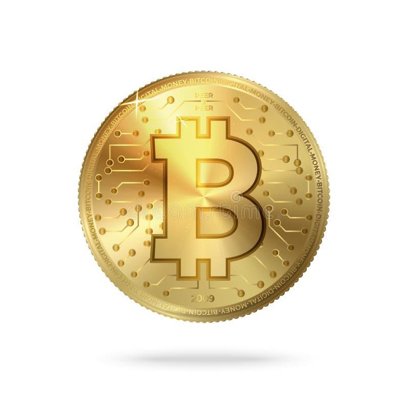 Wektor moneta z Bitcoin symbolem, cyfrowy wzór royalty ilustracja