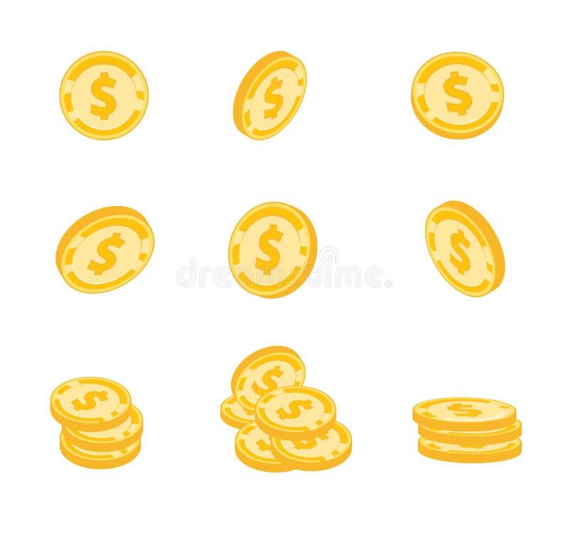 Wektor monety, złociste monety, dolary pieniądze w różnych kątach na białym tle royalty ilustracja