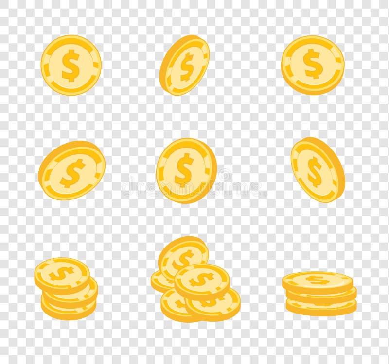 Wektor monety, złociste monety, dolary pieniądze w różnych kątach na przezroczystości tle royalty ilustracja
