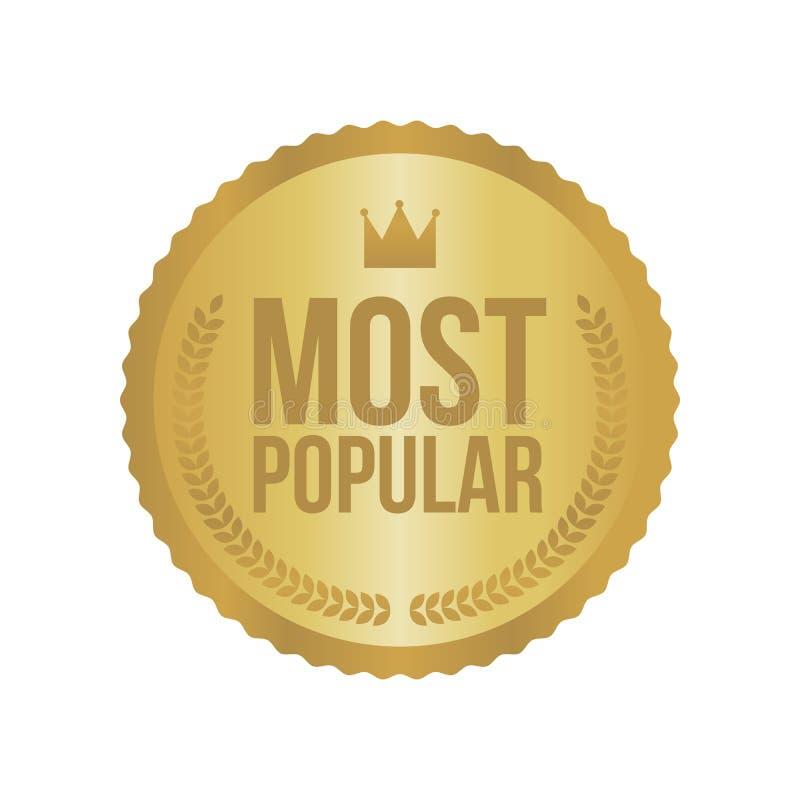 Wektor Najwięcej Popularnego złoto znaka, Round etykietka ilustracji