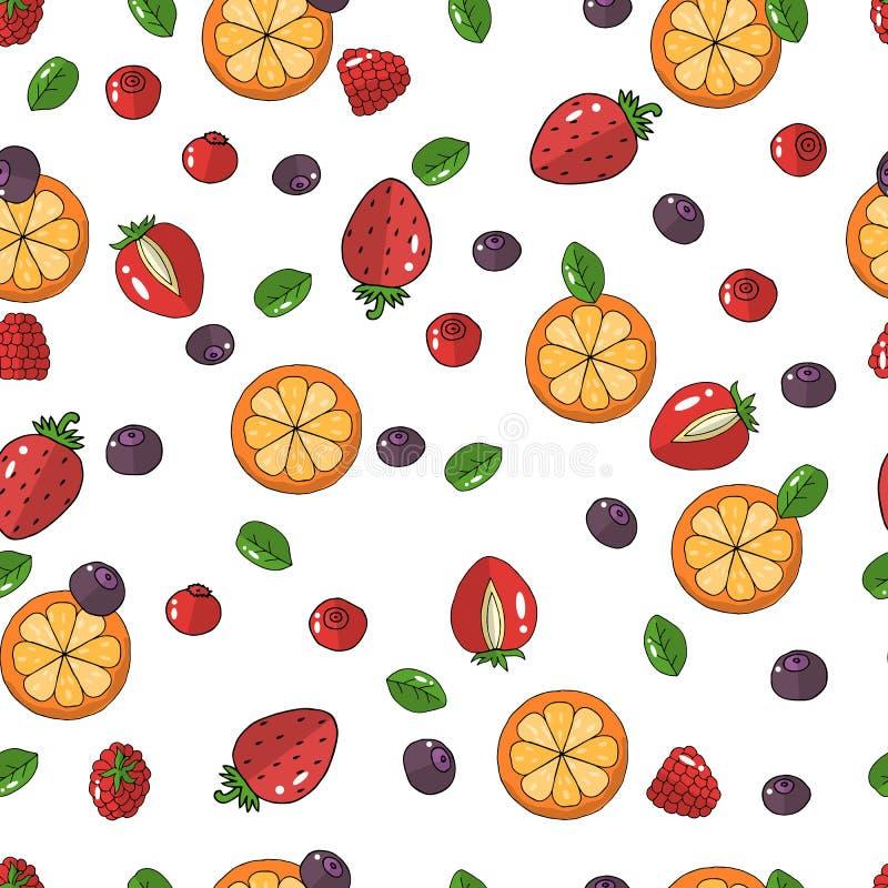 wektor Nakreślenie rysunki Bezszwowy wzór z jagodami i owoc Zieleń opuszcza, truskawki, malinki, czarne jagody, ilustracja wektor