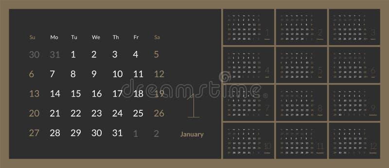 Wektor 2019 nowy rok kalendarz w czystym minimalnym stołowym prostym stylu ilustracji