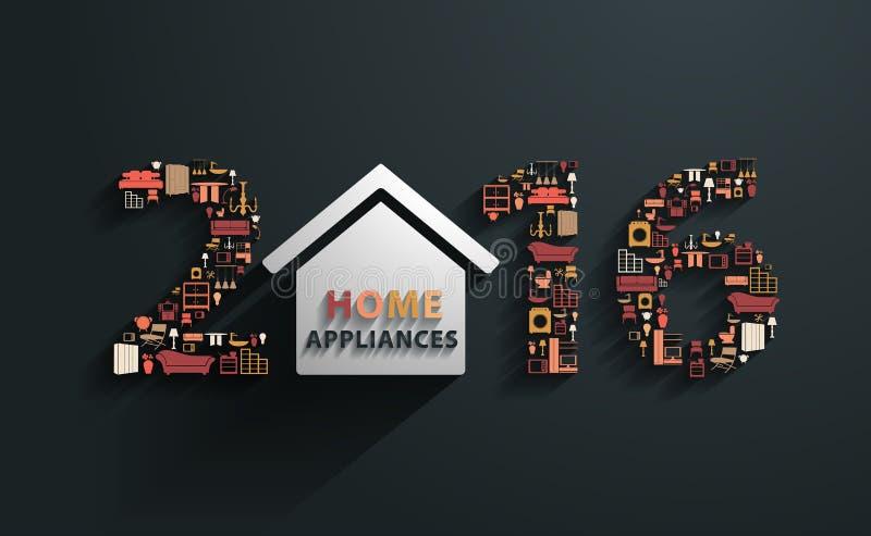 Wektor 2016 nowy rok z płaskimi projektów domowych urządzeń ikonami ilustracja wektor