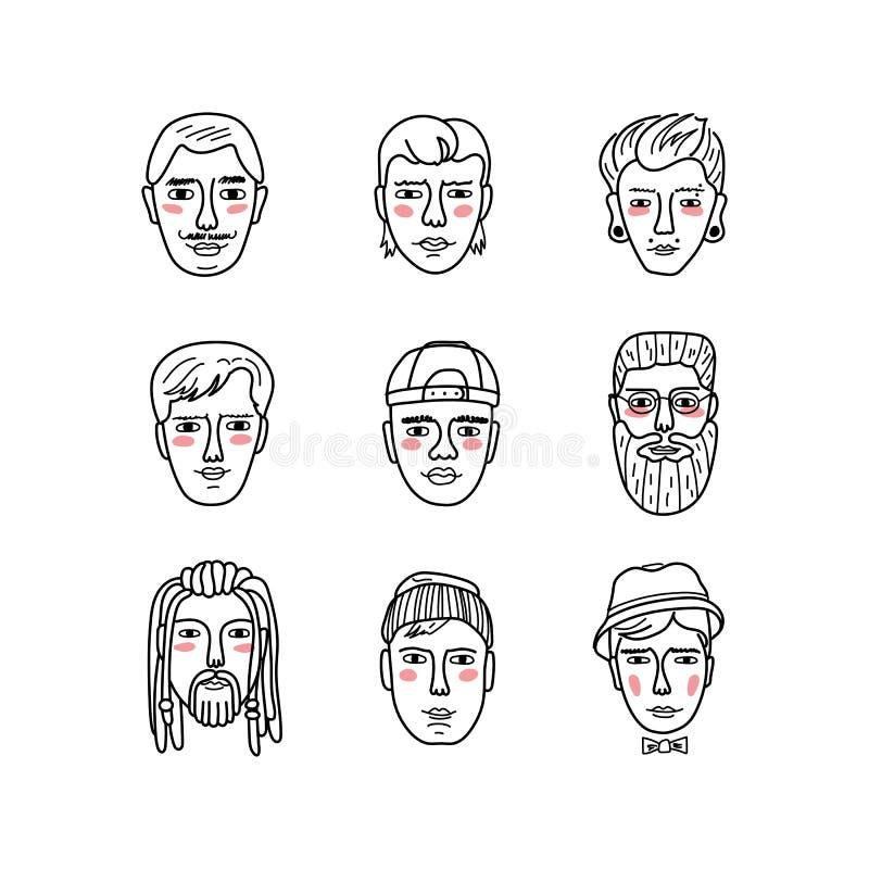 Wektor obsługuje twarze, Doodle mężczyzna Śmieszni avatars portrety Kolekcja pociągany ręcznie modni modnisiów mężczyzna książkow ilustracji