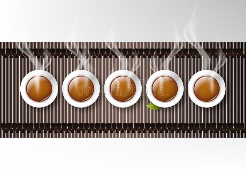 Wektor odizolowywał filiżanki kawy kolekcję, chińska gorąca herbata ilustracji