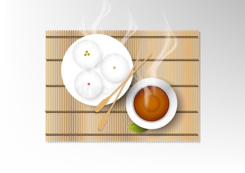 Wektor odizolowywał filiżanki kawy kolekcję, gorąca herbata z deserem royalty ilustracja