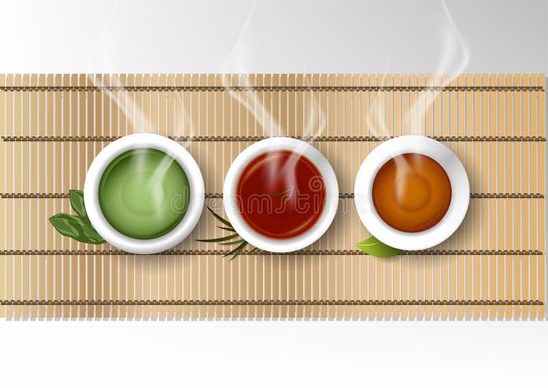 Wektor odizolowywał filiżanki kawy kolekcję, set różnorodna herbata ilustracja wektor