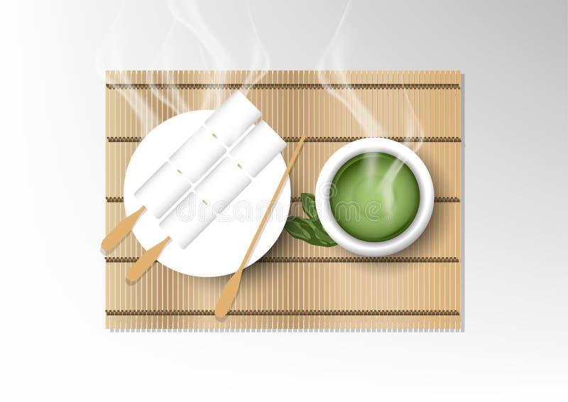 Wektor odizolowywał filiżanki kawy kolekcję, zielona herbata z deserem ilustracji