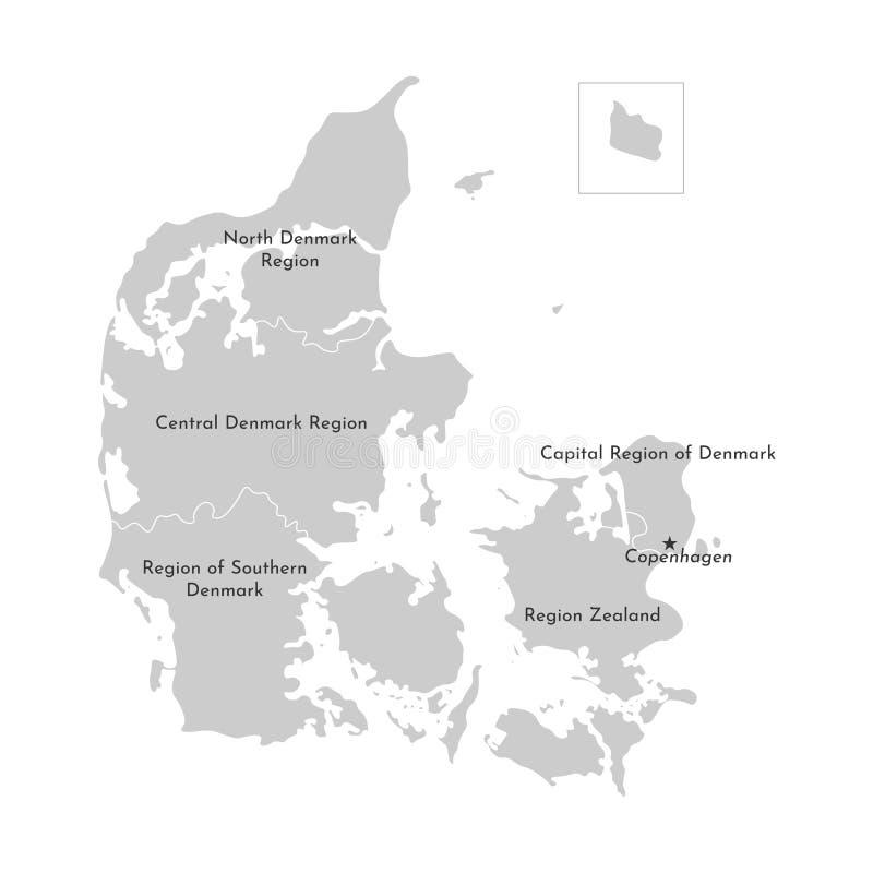 Wektor odizolowywał ilustrację uproszczona administracyjna mapa Dani Popielate sylwetki, biały kontur ilustracja wektor