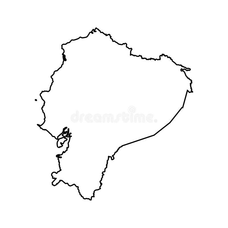 Wektor odizolowywał ilustracyjną ikonę z czerni linii sylwetką uproszczona mapa Ekwador royalty ilustracja