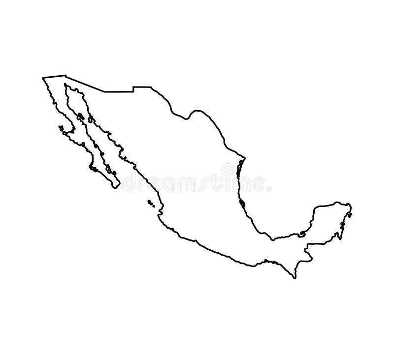 Wektor odizolowywał ilustracyjną ikonę z czerni linii sylwetką uproszczona mapa Meksyk royalty ilustracja