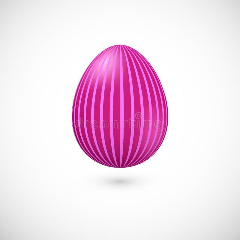 Wektor odizolowywał różową Wielkanocnego jajka ikonę z paskami royalty ilustracja