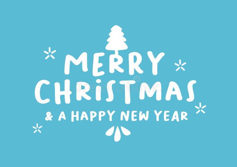 Wektor odizolowywająca ilustracja typografii fazy Wesoło boże narodzenia & szczęśliwy nowy rok przeciw colour tłu ilustracji