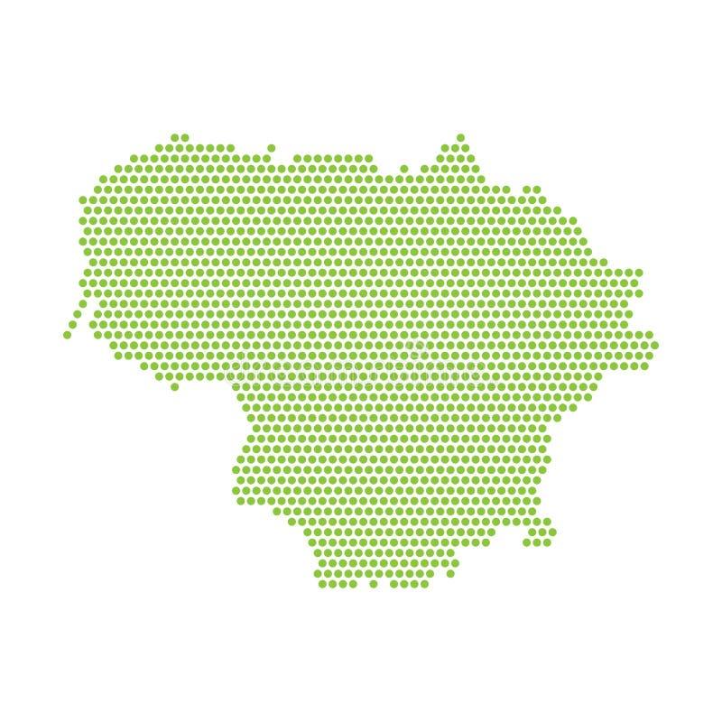 Wektor odizolowywająca upraszczająca mapa Lithuania Zielona sylwetka od punkt?w ilustracji