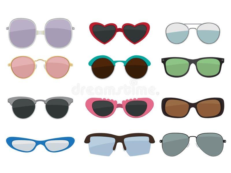 Wektor odizolowywający set barwioni okulary przeciwsłoneczni ilustracja wektor