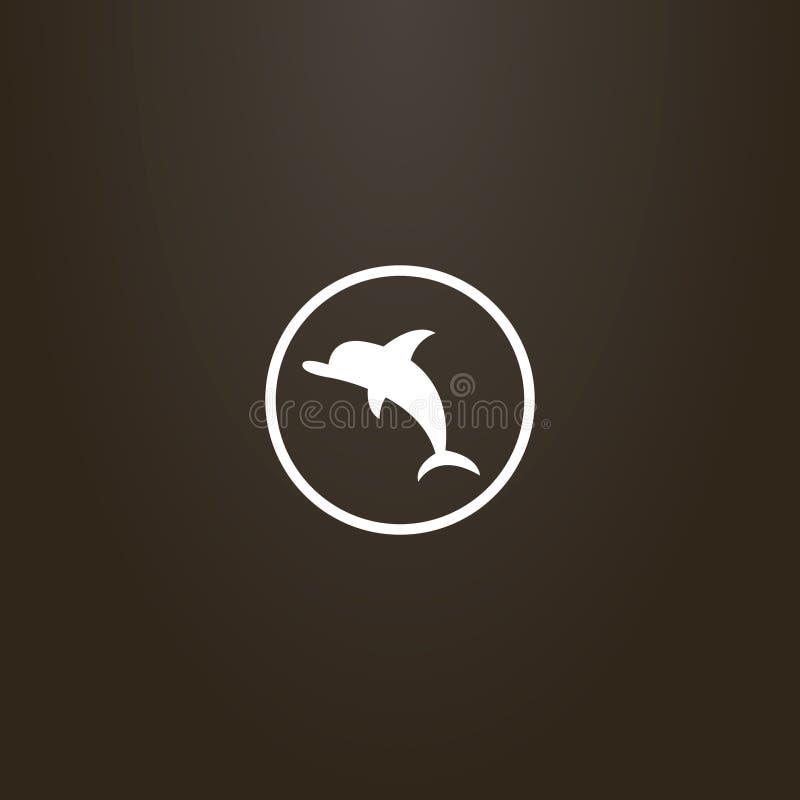 Wektor odizolowywający znak płaski sztuka delfin w round ramie ilustracji