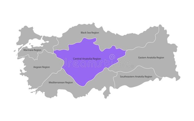 Wektor odizolowywaj?ca upraszczaj?ca mapa Indyczy regiony Oceniony Środkowy Anatolia region Granicy i imiona administracyjni podz royalty ilustracja