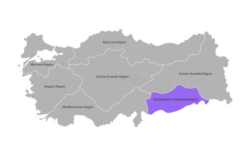 Wektor odizolowywaj?ca upraszczaj?ca mapa Indyczy regiony Oceniony Southeastern Anatolia region ilustracji