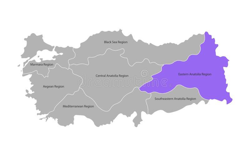 Wektor odizolowywaj?ca upraszczaj?ca mapa Indyczy regiony Oceniony Wschodni Anatolia region ilustracji