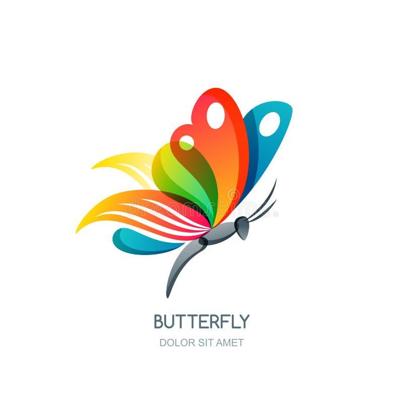Wektor odosobniona ilustracja kolorowy abstrakcjonistyczny motyl Kreatywnie loga projekta element ilustracja wektor