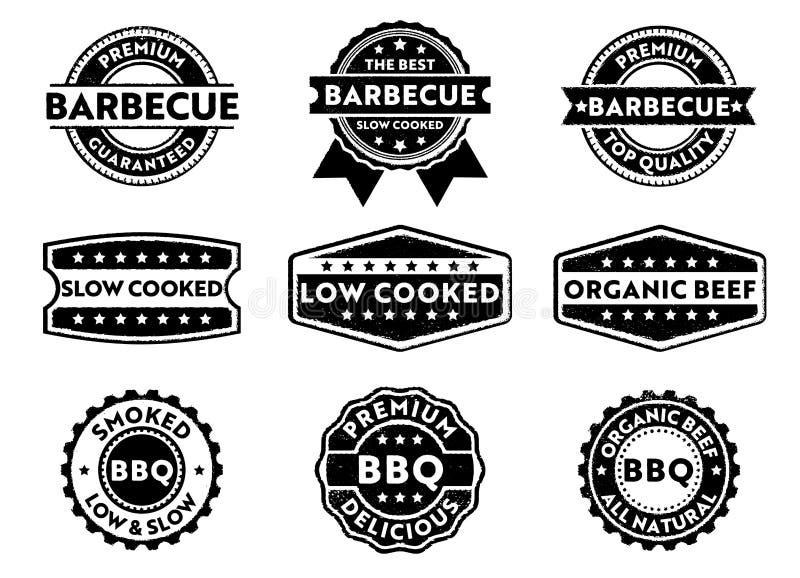 Wektor odznaki stemplowa etykietka dla marketingowego sprzedawanie grilla produktu, premii wołowina organicznie, wolna depresja g ilustracja wektor