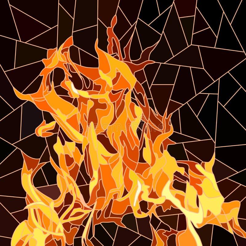 Wektor ogień w mozaice. ilustracji