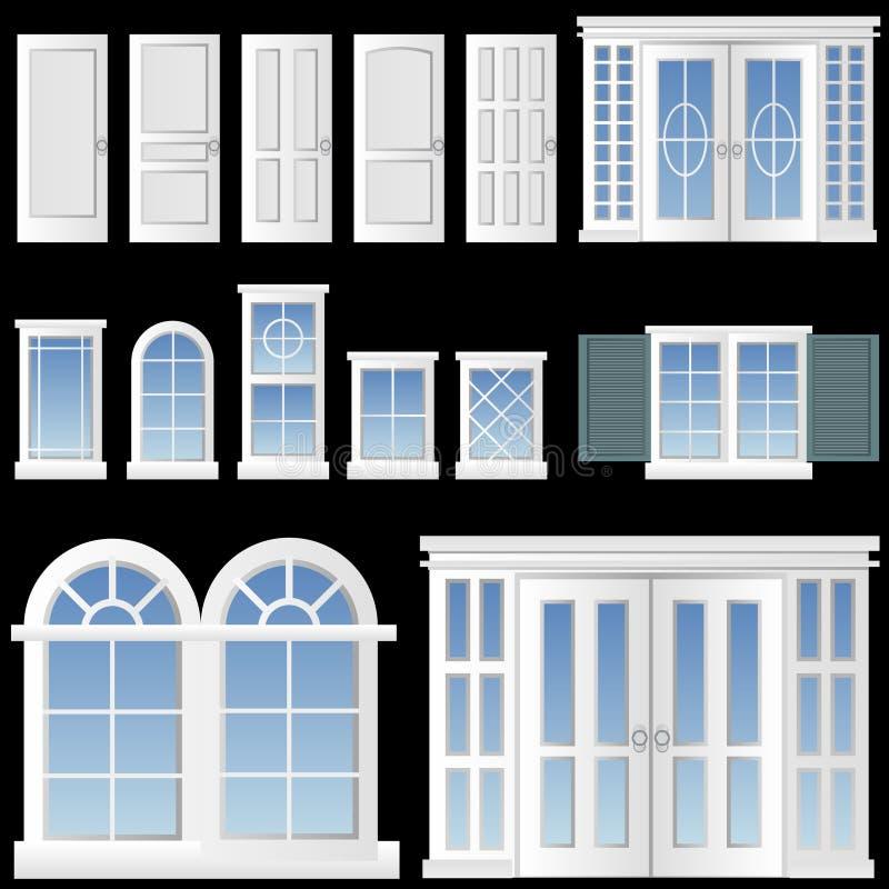 wektor okna, drzwi ilustracji