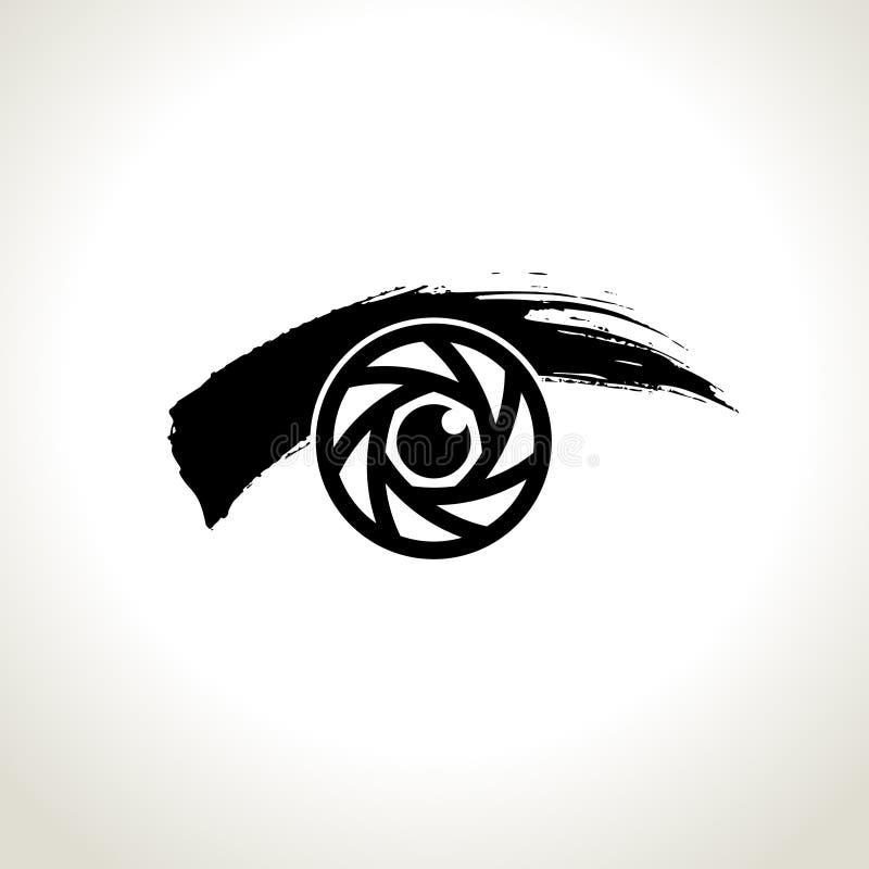 Wektor: oko ikony symbol z brushwork stylem royalty ilustracja