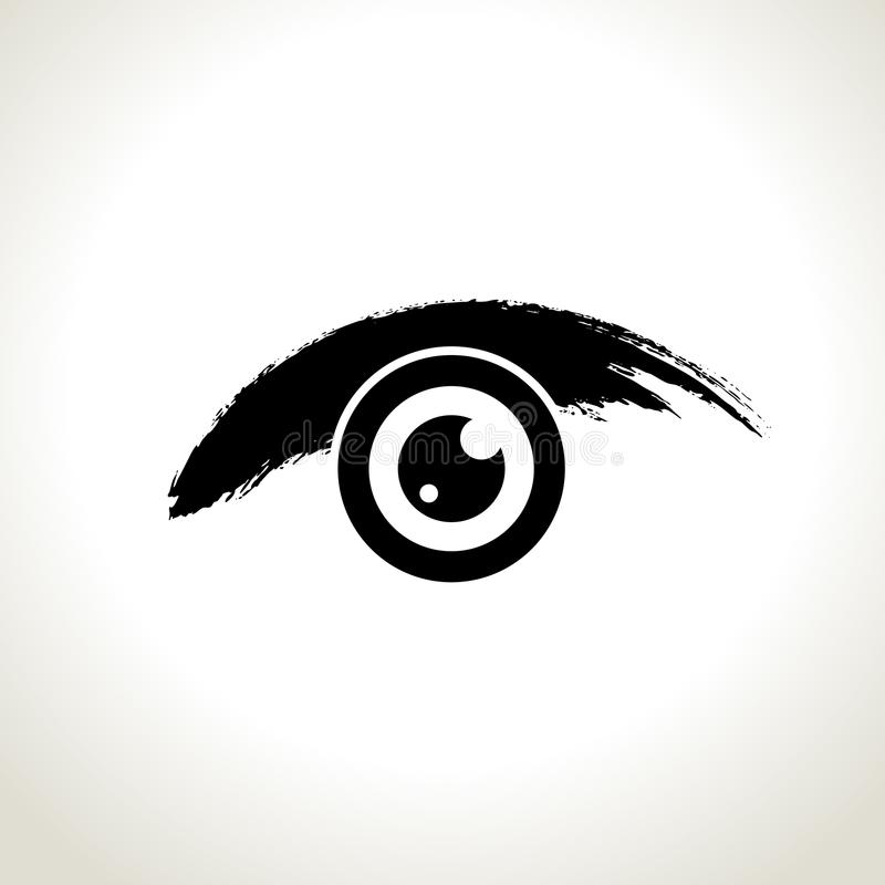 Wektor: oko ikony symbol z brushwork stylem ilustracji