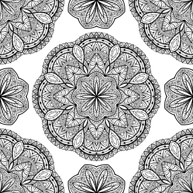 Wektor, orientalny, bezszwowy wzór z czarnymi mandalas, ilustracji