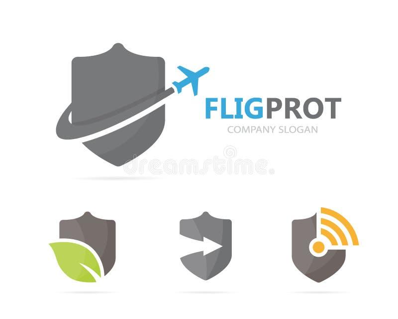 Wektor osłony i samolotu loga kombinacja Ochrona, podróży ikona i symbol lub Unikalny gacenia i lota logotyp royalty ilustracja