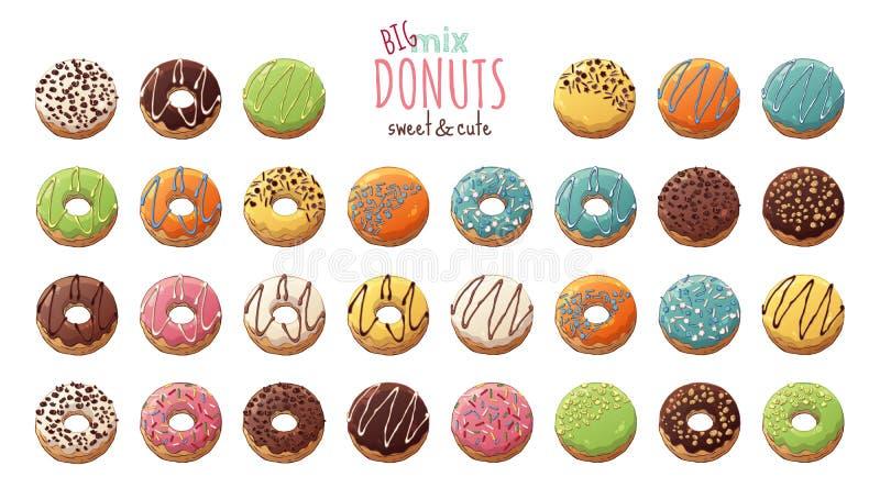 wektor Oszkleni donuts dekorowali z polewami, czekolada, dokrętki ilustracja wektor