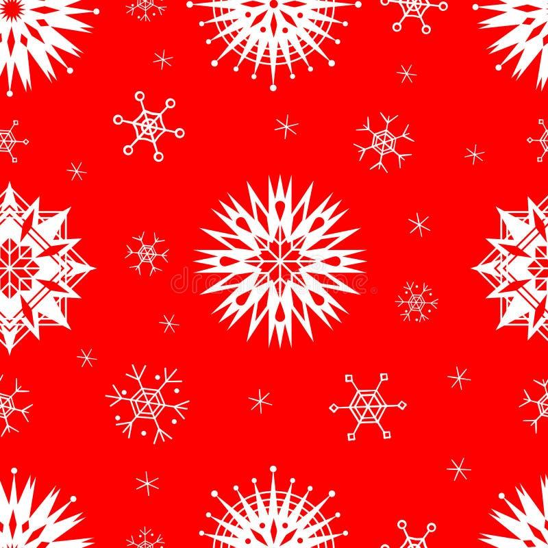 Wektor płatków śniegu — wzorzec bez szwu Snowflakes sylwetki bezszwowej Tło geometryczne w kolorach czerwonym i białym ilustracji