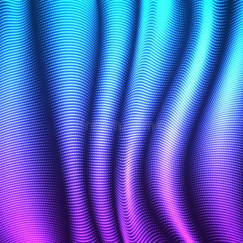 Wektor pakujący kropkujący linii tło Elastyczni lampasy jaśnienie punkty przekręcający jako jedwab tworzy wolumetrycznych fałdy royalty ilustracja